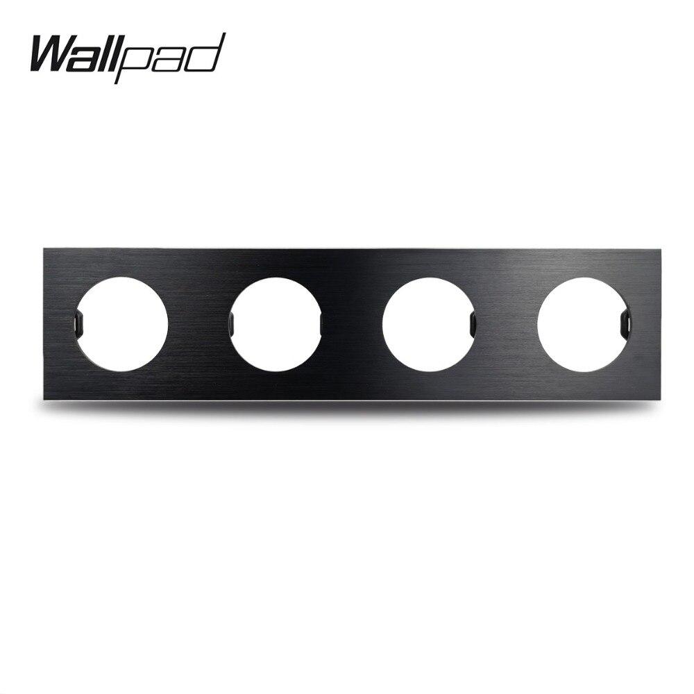 Wallpad L6 Preto DIY quadruple 4 Gang Frame Placa de Alumínio Escovado do Metal Para O Interruptor Da Tomada de Parede Combinação Livre, 344*86mm