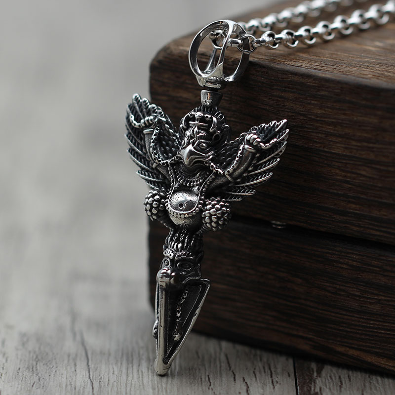 S925 silver jewelry Retro Vintage wings bird personality sweater chain Pendant Silver Vajra Pendant vintage bird wings necklace for women