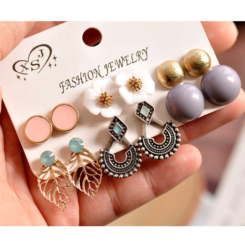 New Fashion Women's Jewelry Wholesale Girls Pearl Powder Grey Gold Stud Earrings Beautiful Mixing 6 Pairs / Set Earrings Gift