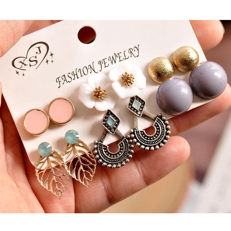 New Fashion Women's Jewelry Wholesale Girls Pearl Powder Grey Gold Stud Earrings Beautiful Mixing 6 Pairs / Set Earrings Gift