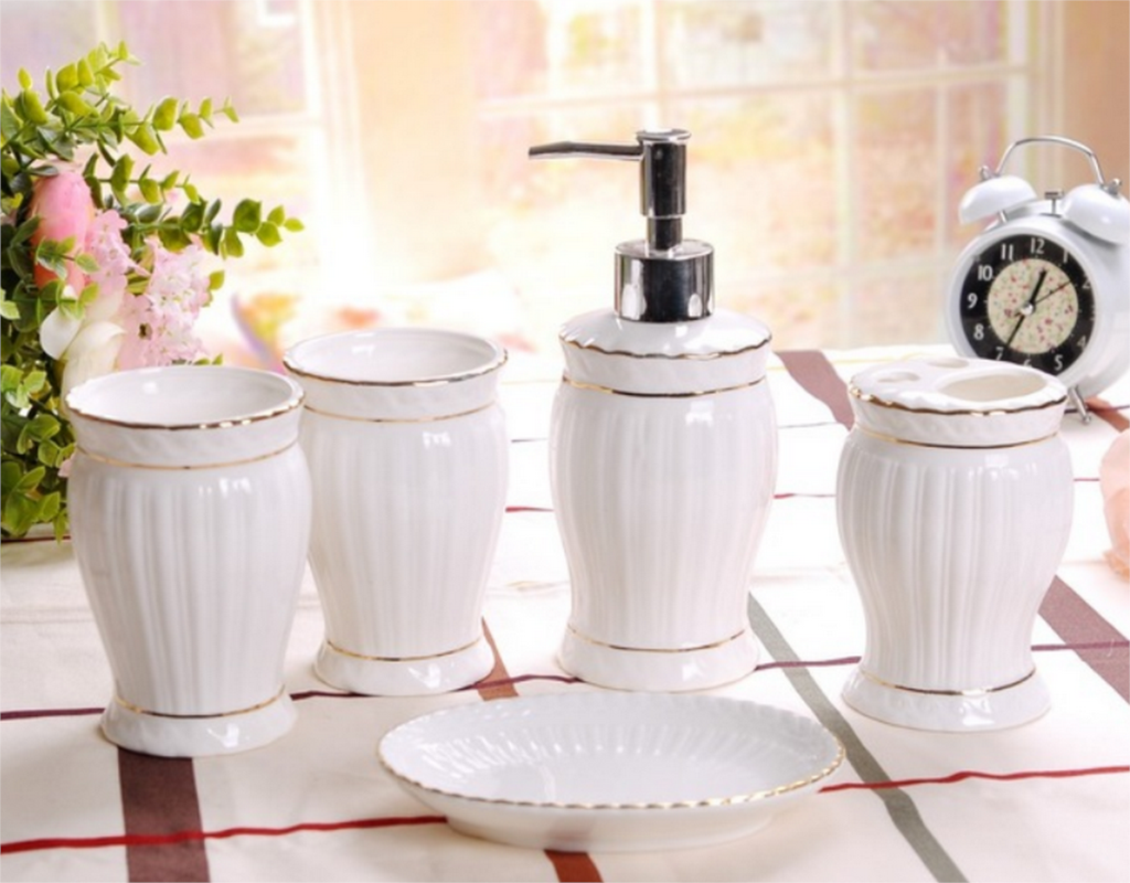 Exquisite 5Pcs Ceramics Bathroom Accessories Set Soap Dispenser/Toothbrush Holder/Soap Dish Cotton Swab Bathroom Products LFB276
