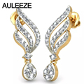 Unique Feather Diamond Drop Earrings For Women Solid 14K 585 Two tone Gold Yellow Gold Real Natural Diamond Wedding Earrings