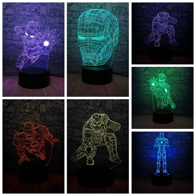 Herói Homem de Ferro maravilha Lenda 3D LEVOU Carga USB Lâmpada 7 Cor Gradiente Decoração do Quarto Adolescente Homem Amigo de Aniversário Xmas garoto de Brinquedo de presente