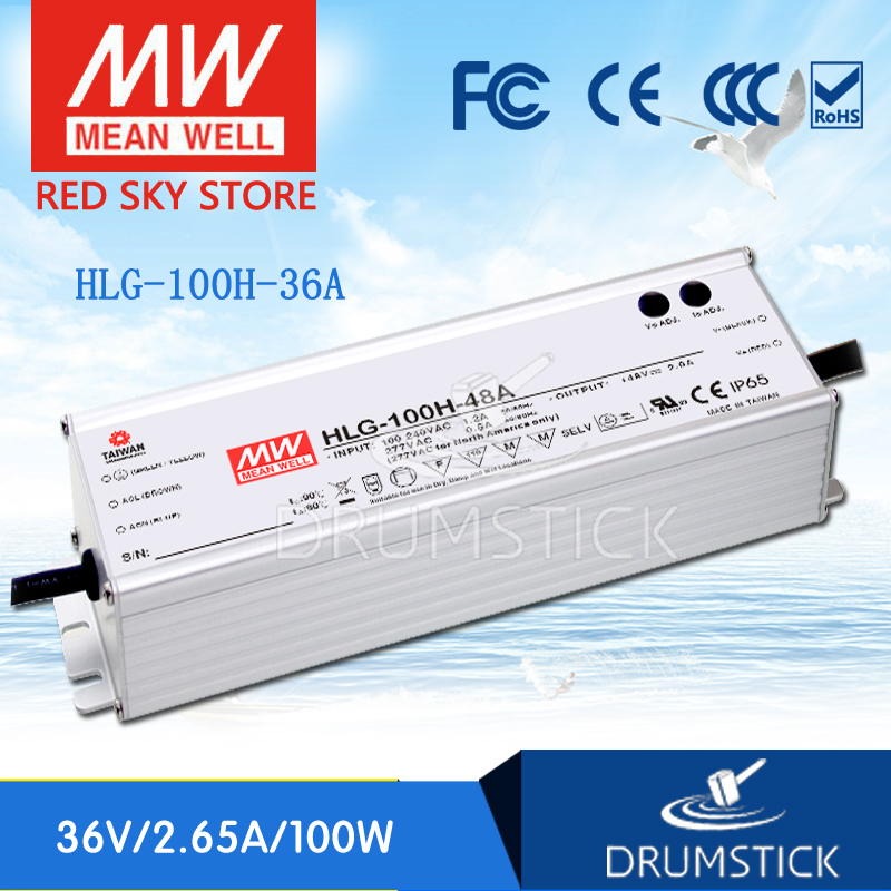Genuine MEAN WELL HLG-100H-36A 36V 2.65A meanwell HLG-100H 36V 95.4W Single Output LED Driver Power Supply A type genuine mean well hlg 320h 36b 36v 8 9a hlg 320h 36v 320 4w single output led driver power supply b type