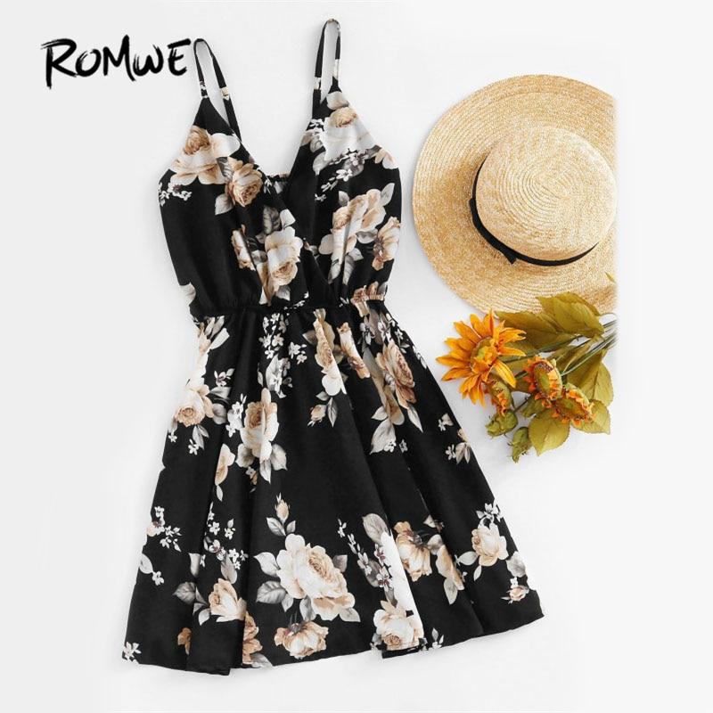ROMWE Imprimé floral Aléatoire Surplis Cami Robe 2017 Multicolore Fit et Flare Slip Courtes Robe V Cou Wrap Manches Robe