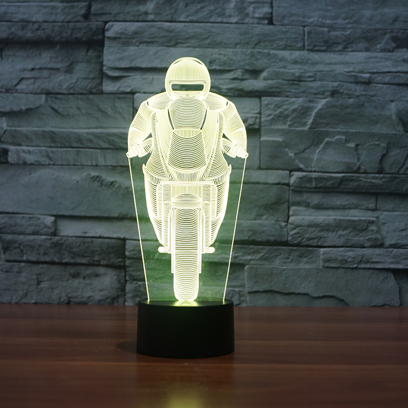 hotsale moto mould Changing 3D night light Illusion colorful Lamp Acrylic Night Light With Touch Switch night lamp 3d christmas snowman shape touch colorful night light