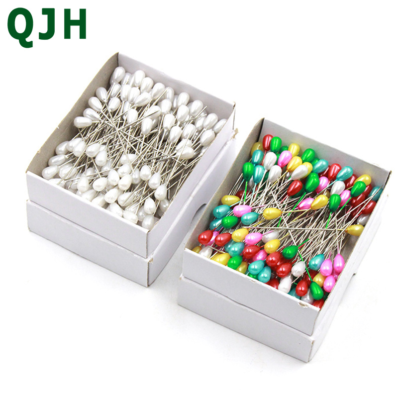 144pcs/set Colorful&White Round Pearl Plug Bead Positioning Needle Locating Pins Patchwork Sewing Pins DIY Sewing Accessory