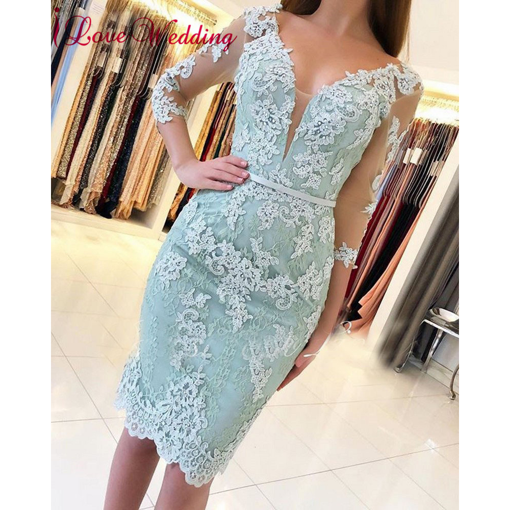 New Arrival 2019 Sexy Sheer V Neck Lace Applique Half Sleeves Custom Made Mint Green Knee Length Formal Cocktail Party Gown(China)