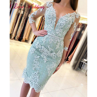 New Arrival 2019 Sexy Sheer V Neck Lace Applique Half Sleeves Custom made Mint Green Knee Length Formal Cocktail Party Gown