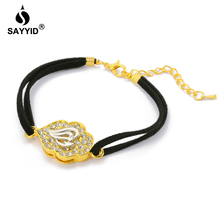 Middle East Arabia Hot Sale Quran inlay Rhinestone Bracelet for Women's Fashion Plating yellow gold color Black Cord Bracelet цена в Москве и Питере