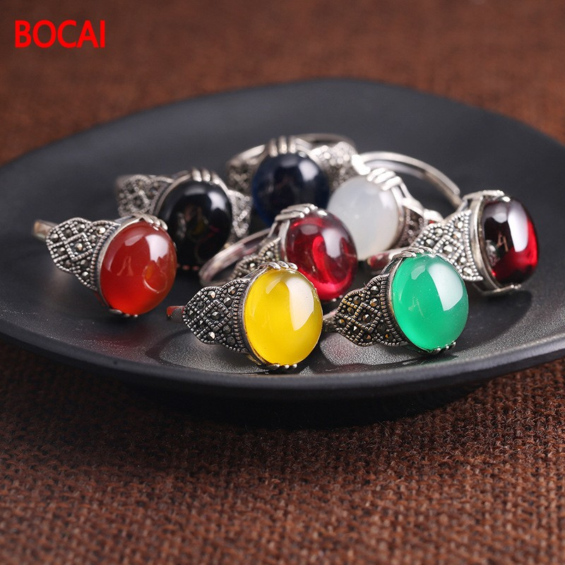 S925 sterling silver ring decorated with red pomegranate yellow white female opening Carnelian retro ring