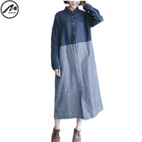 MIWIMD Plus Size Women Autumn Dresses 2017 New Fashion Casual Patchwork Striped Long Sleeves Loose Cotton
