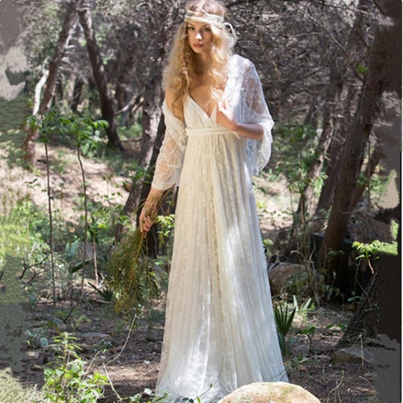 Bohemian Wedding Dress 2017 V Neck Lace Boho Wedding ...