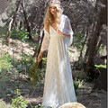 Bohemian Wedding Dress 2017 V-Neck Lace Boho Wedding dresses Sleeveless Backless With Cape Bridal Gown Vestido de noiva de renda