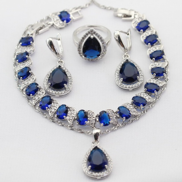 Water Drop Silver Color Necklace Pendant Earrings Rings bracelet Blue Created Sapphire Jewelry Sets For Women Christmas Gifts
