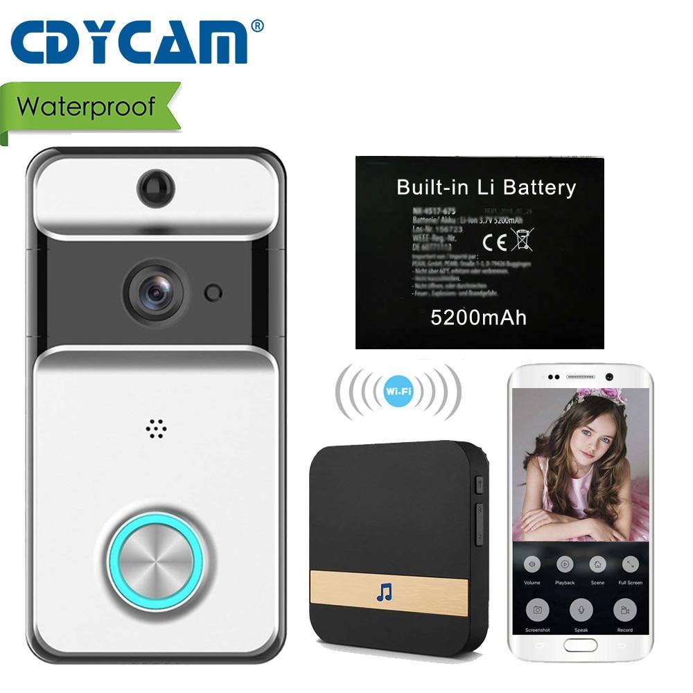 CDYCAM IP53 Waterproof Wireless Doorbell Wifi Video Door Phone Intercom Camera with 5200mAh battery EUUSAUUK Plug Indoor Bell