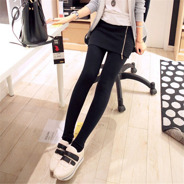 Autumn Side Zipper Leggings Women Cotton Black Culottes Legging