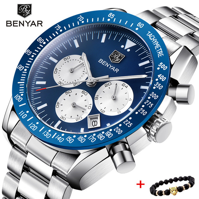 BENYAR Men Watch Top Brand Luxury Full Steel Business Clock Quartz Watch Men Casual Waterproof Sports Watches Relogio Masculino