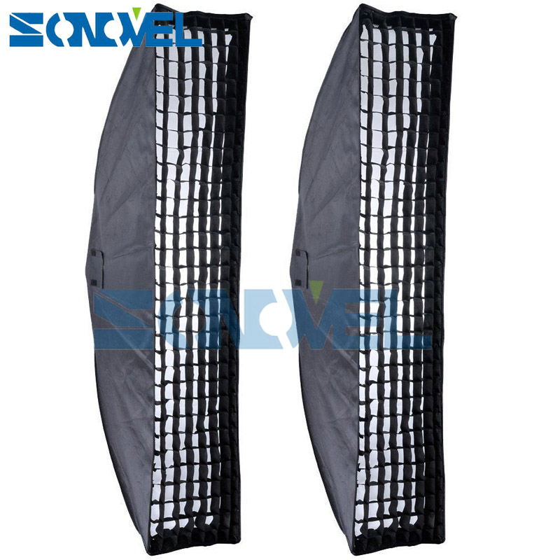 2PCS Godox 35x160cm 14x63 Strip Beehive Honeycomb Grid Softbox w/ Bowens Mount