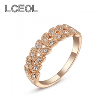 LCEOL Best Sell Especial Branch Aligned Leaves Plant Rings For Ladies Interwined Charm Style Fashionable Women Jewelry Rings