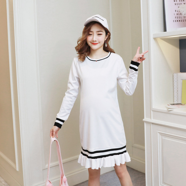 c1a5553812d Preppy Style Maternity Dress Lace Pregnancy Clothes Autumn Pregnancy  Clothing Of Pregnant Women Long Sleeve Vestidos