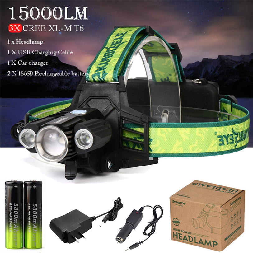 15000Lm Headlamp 3 x XM-L T6 LED Headlight 18650 Light Charger Batt Outdoor Sports Bicycle Bike Accessories High Quality July 17 950lm 3 mode white bicycle headlamp w cree xm l t6 black silver 2 x 18650