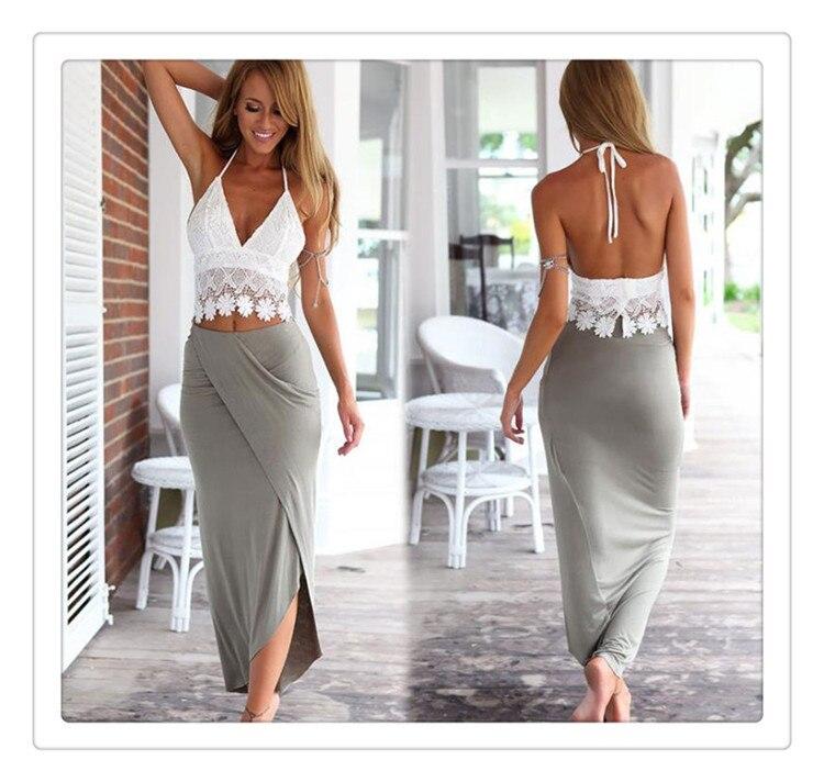 a30aad065f Koronka Bawełniana madal długa sukienka dla kobiet 2 sztuk bandaż Bodycon  plaża nosić hohollow out slim casual czechy moda odzież 3.0