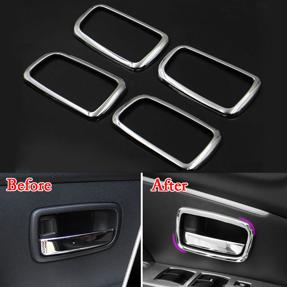 BBQ FUKA Chrome Inner Door Handle Bowl Cover Car font b Interior b font Accessories Trim