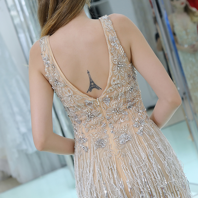 cdc37a8734 ... Crystals V Neck Evening Dresses 2018 with Tassel Party Woman Dress.  IMG 9788 IMG 9820 IMG 9790 IMG 9792 IMG 9802 IMG 9805 IMG 9812 IMG 9818  IMG 9823