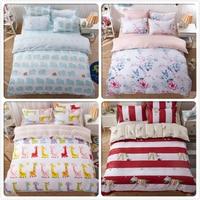 Cute Animal Duvet Cover 3/4 pcs Bedding Set Kids Cotton Bed Linens Single Double Twin Queen King Size 1.5m 1.8m 2m 2.2m Bedsheet