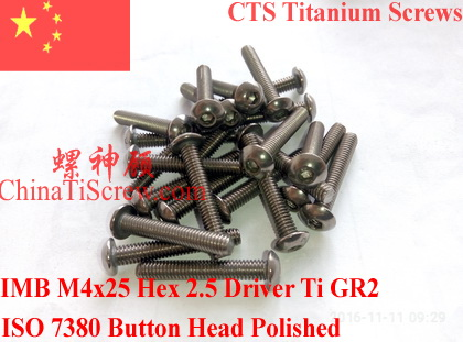 Titanium screw <font><b>M4X25</b></font> ISO 7380 Button Head Ti GR2 Polished 10 pcs image