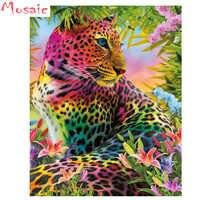 DIY 3D Diamond painting leopard 5d Diamond mosaic Full Square round Diamond embroidery Colorful animal 3d Cross stitch wall art