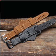 Retro Thick Genuine leather watchband watch band men Wrist watch strap wristwatches band 20 22 24mm 26mm Brown Black with mat все цены