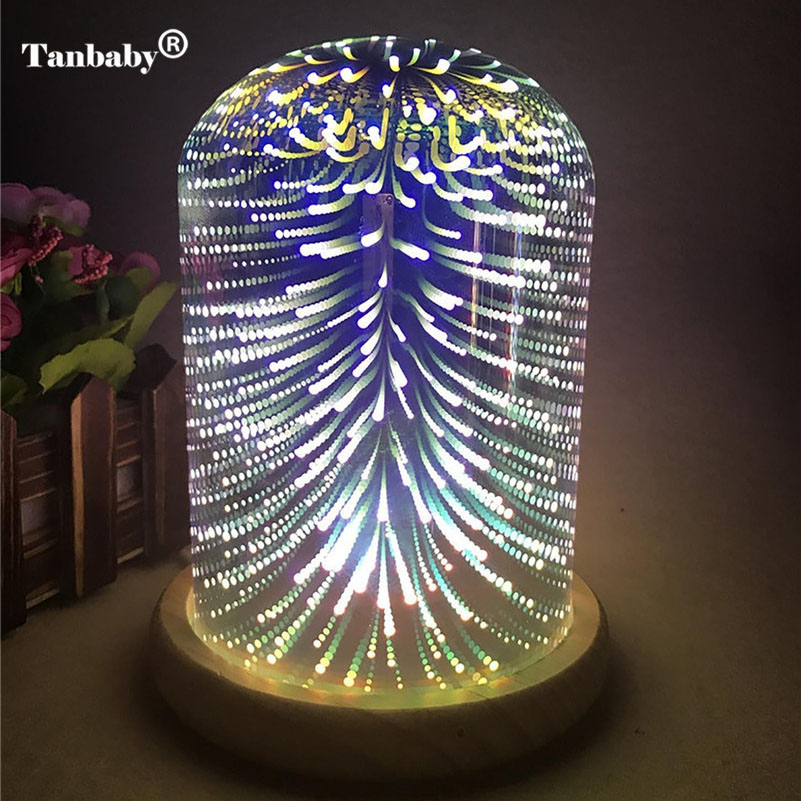 Tanbaby 3D Starburst Night Light Fireworks Star Heart LED Table Lamp Color Changing Decorative Gift Lamp For Home Bedroom 3d led lamp usb night love heart