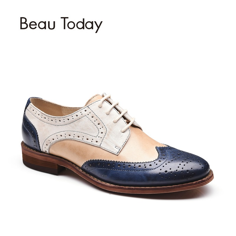 BeauToday Brogue Shoes Mixed Colors Wingtip Top Brand Genuine Leather Handmade Lace-Up Round Toe Waxing Sheepskin Shoes 21025 beautoday oxford shoes women fashion lace up round toe brogue style waxing genuine cow leather ladies flats 21085