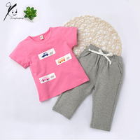 Sports Suits Girls Tracksuit Kids Clothes Pullover Short T shirt Sets Children Boys Printed Car/Bus Clothing Set 3Y XDD-E2007