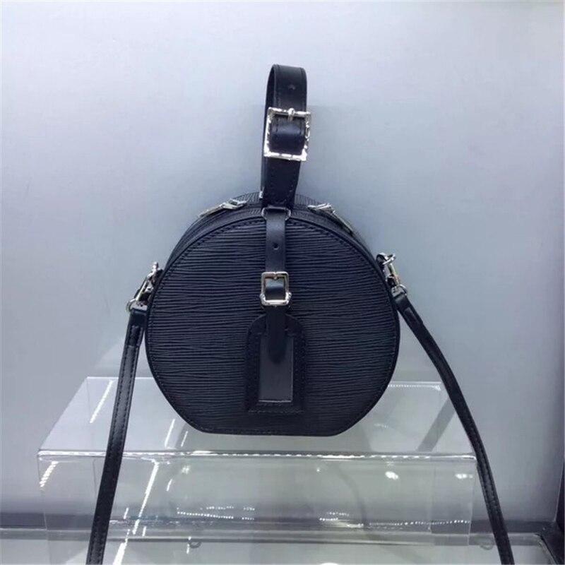 Real leather bucket bag genuine leather box bag vintage makeup handbag circular crossbody bag shoulder Messenger day clutch bag