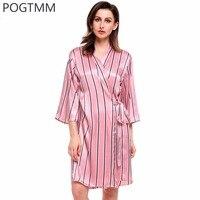 Home Dressing Gown Sexy Silk Nightwear Kimono Striped Satin Bathrobe Women Floral Print Spa Bath Robe