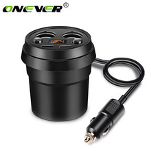 Onever 3.1A Dual USB Car Charger Adapter with 2 Cigarette Lighter Socket Car Cup Holder Type Support Volmeter Display DC 12-24V(China)
