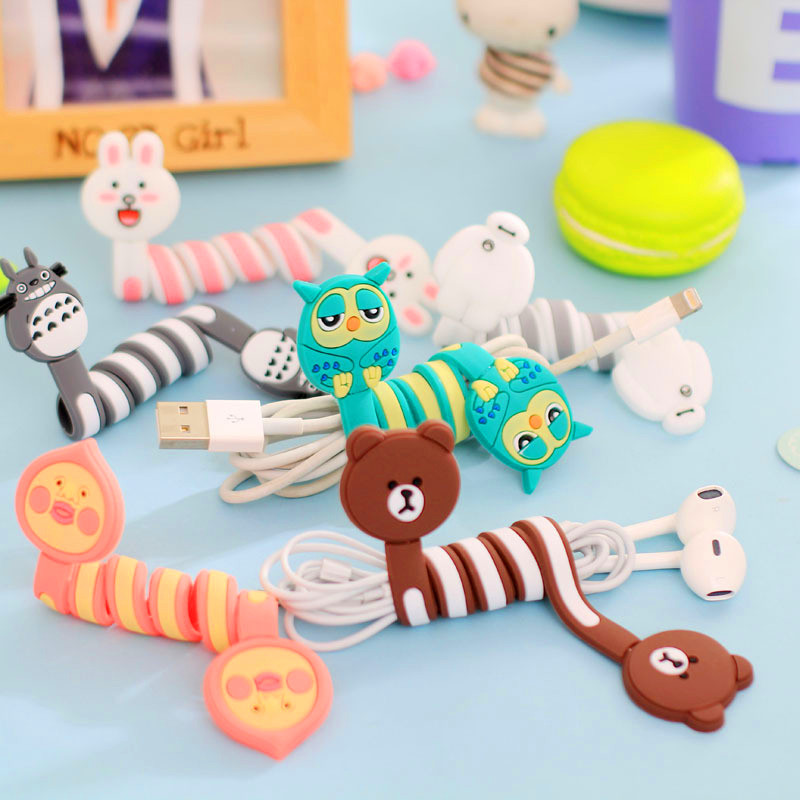 Cartoon Earphone Cable Winder Protector Wire Cord Organizer protetor de cabo for iPhone 5 5s 6 6s 7 plus Computer PC cable clip computer networking telephone wire cord cable loop organizers grey 10 piece pack