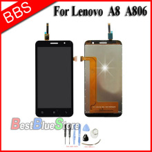 Replacement LCD Display Touch Digitizer Screen Assembly Complete For Lenovo A8 A806 A808T +tools Free Shipping high quality replacement lcd display touch digitizer screen assembly complete for lenovo p780 free shipping