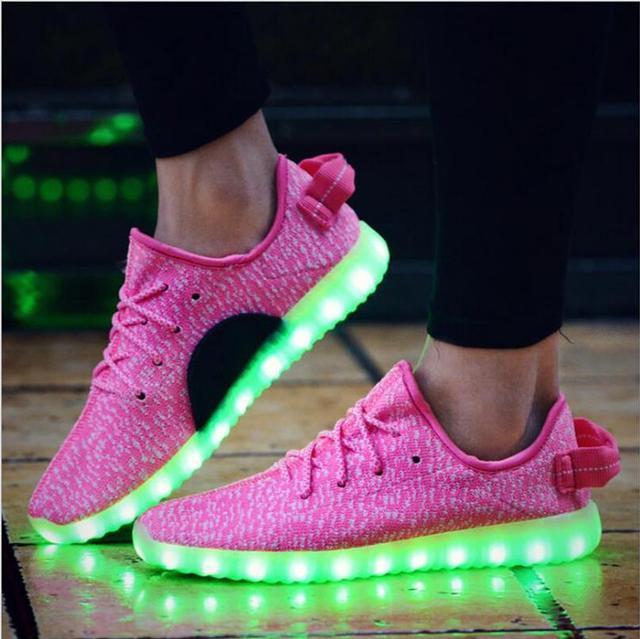 Eur Размер 35-43 2017 USB Заряда Взрослых Дышащий Light Up Shoes Unisex Casual Shoes with Light Светящиеся Кроссовки светящиеся Обувь