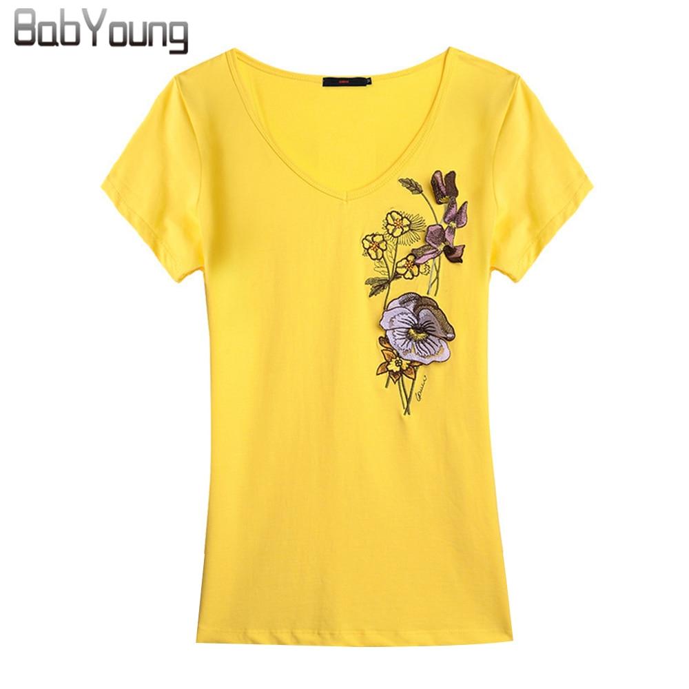 Babyoung summer tops women t shirts handmade v neck