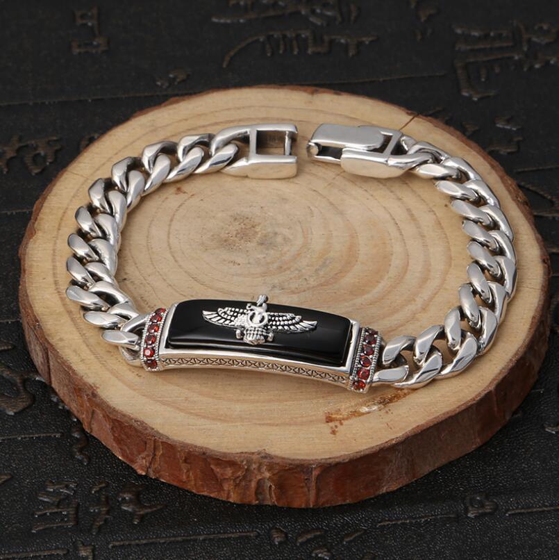 Bracelet aigle classique en argent pur 925 Bracelet aigle volant rétro en argent S925 - 5