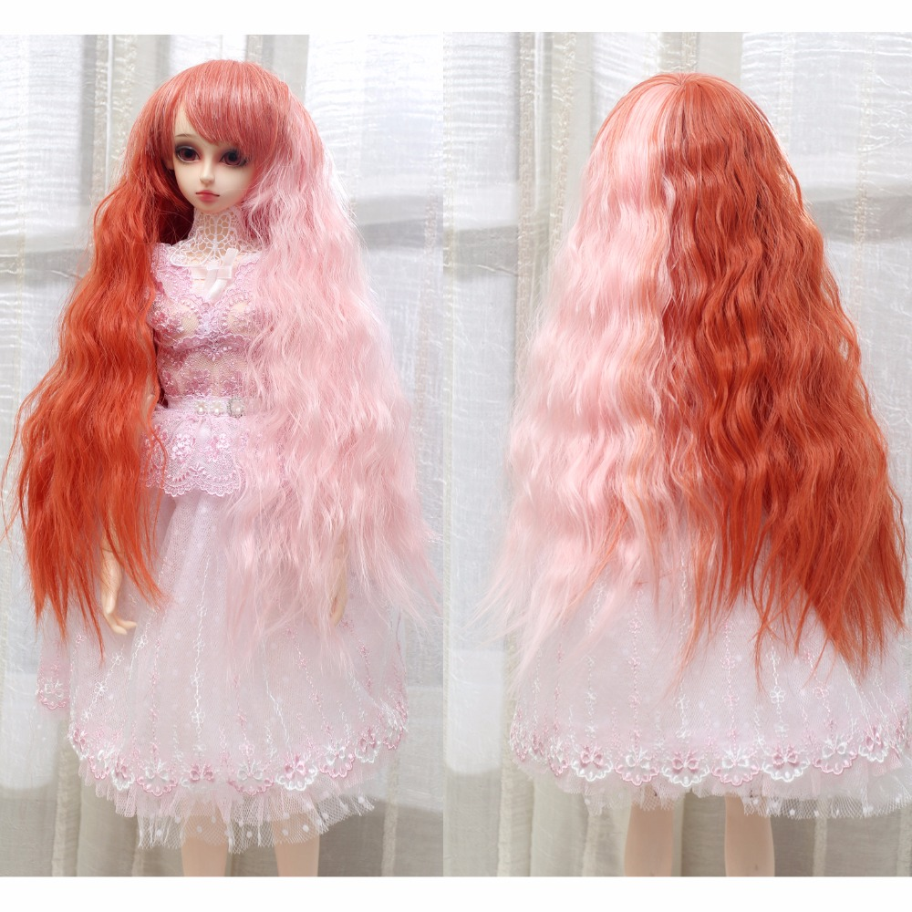 1/3 BJD Dolls Wig Long Kinky Curly Synthetic Hair Pink Orange Mixed Colors Doll Accessories