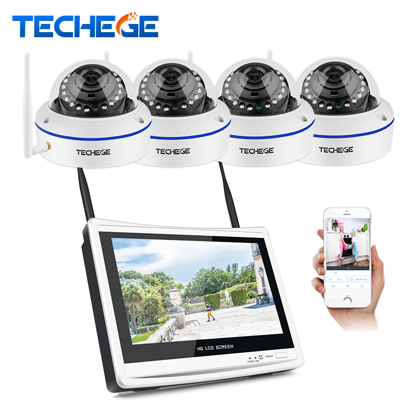 Techege Plug and Play 4CH Беспроводной NVR комплект 12 дюймов сетевой видеорегистратор LCD 1080 P HD Vandalproof безопасности IP камера ночное видение Wi Fi CCTV системы