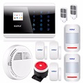 English Russian French Spanish Voice APP IOS Android GSM Autodial Home Alarm Security System Dual Touch Panel Smoke Sensor