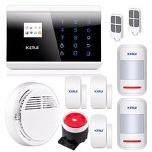 Angielski Rosyjski Francuski Hiszpański Voice APP IOS Android GSM Home Alarm Security System Automatycznego Wybierania Numeru Podwójny Panel Dotykowy Czujnik Dymu