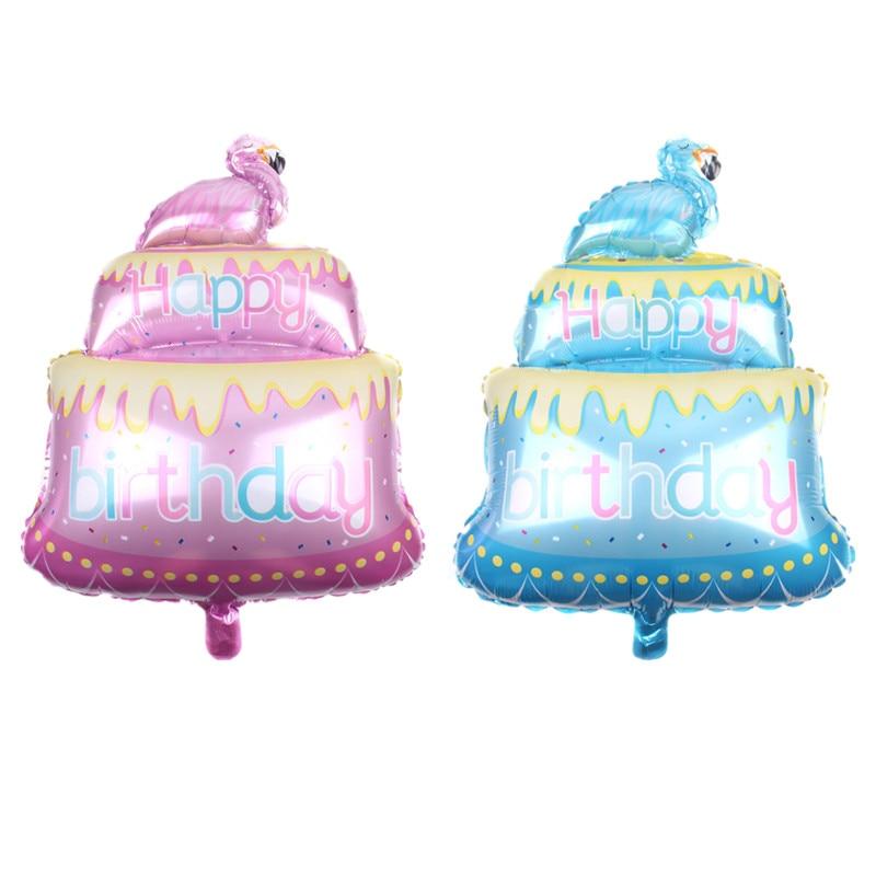 1pc Pink Blue Bird Cake Foil Balloon Happy Birthday Letter Printed Helium Balloons Baby Shower Kids Adults Birthday Party Decor Рыбная ловля