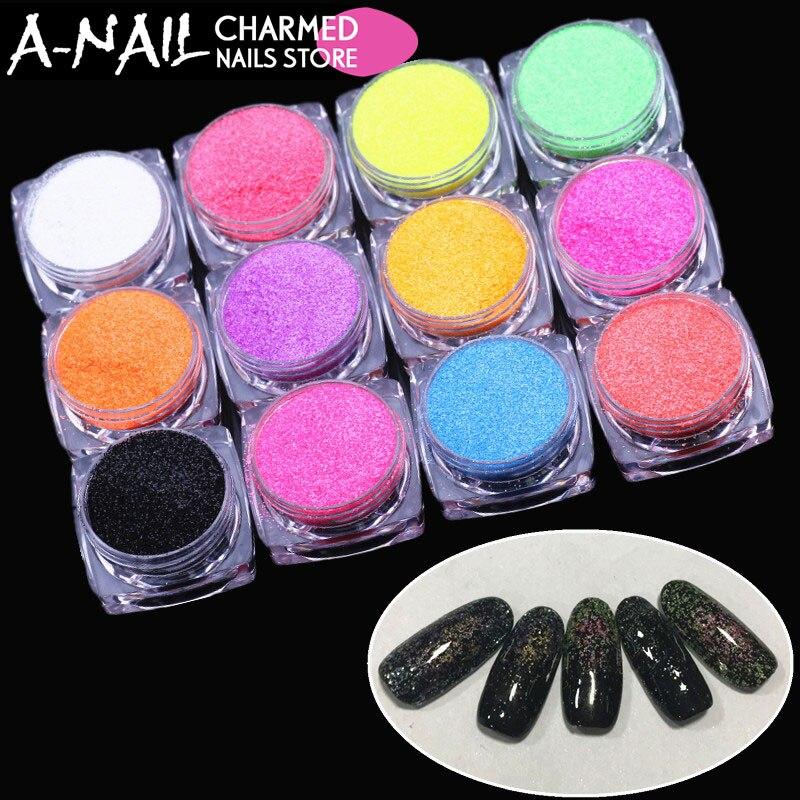 где купить 12boxes/set Nail Glitter 12 Candy Colors Glitter Powder Nail Art sugar Powder Dust Tips Makeup Manicure Nail Art Decoration по лучшей цене